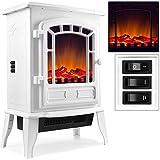 Elektro-Kamin mit Heizung und Kaminfeuer-Effekt 2000W weiß Flammeneffekt Flammenambiente Ofen