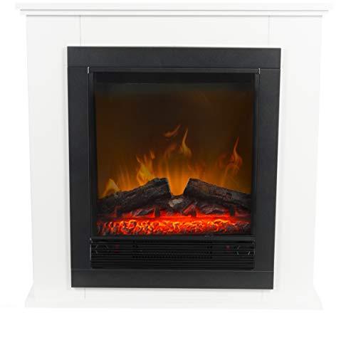 Classic Fire Elektrischer Kamin Lugano – Elektrokamin mit Feuereffekt – 1800 W – Schwarz